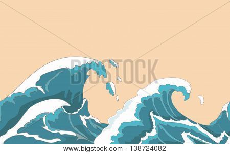 Ocean big wave seamless in Japanese style. Water splash, storm , weather nature. Hand drawn  illustration