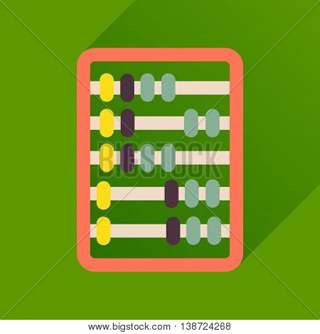 Flat icon with long  shadow abacus business