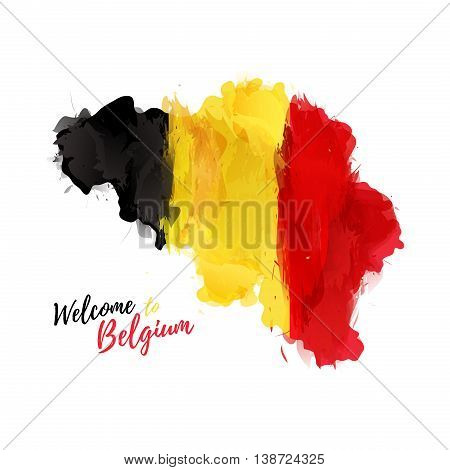 Symbol, poster, banner Belgium. Map of Belgium with the decoration of the national flag. Watercolor style drawing. Vector illustration