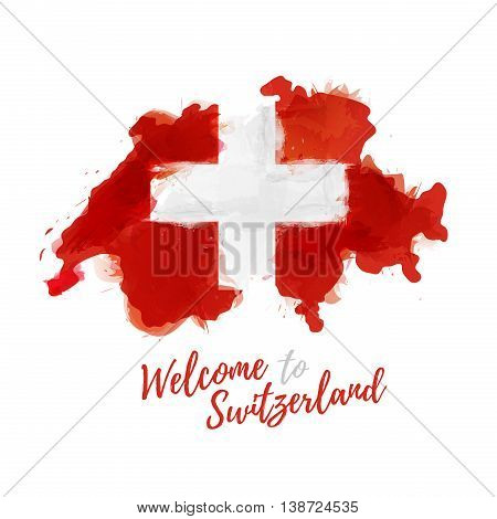 Symbol, poster, banner Switzerland. Map of Switzerland with the decoration of the national flag. Watercolor style drawing. Vector illustration