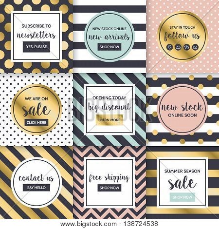 Modern website promotion and sale banners template for social media and mobile apps. Geometrical pattern background design with golden elements