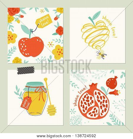 Rosh Hashana (jewish new year) greeting card set design with hand drawing apple honey and pomegranate
