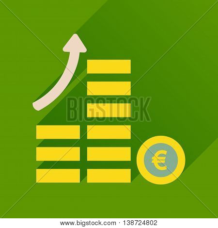 Flat icon with long  shadow coins graph