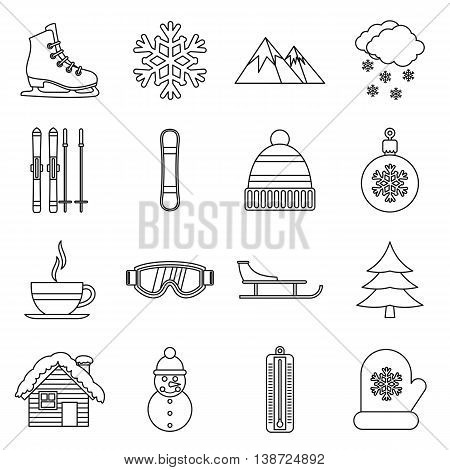 Winter icons set in outline style. December set collection isolated vector illustration