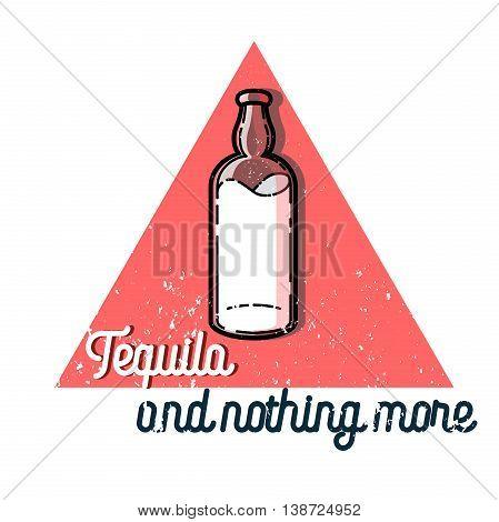 Color vintage tequila emblem. Mexican alcohol drink, berida. Vector illustration, EPS 10