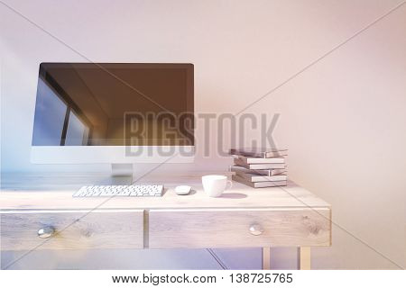 Workplace With Computer Display Toning