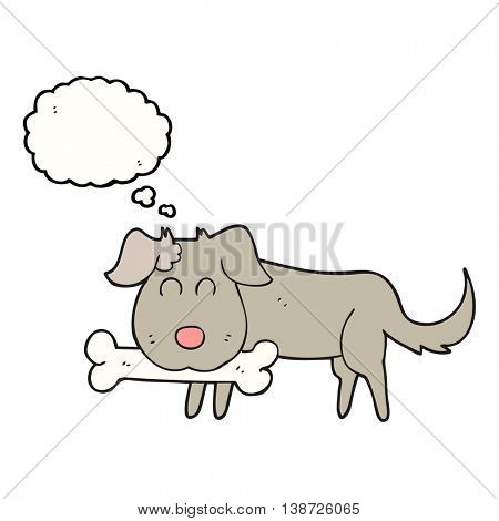 freehand drawn thought bubble cartoon dog with bone
