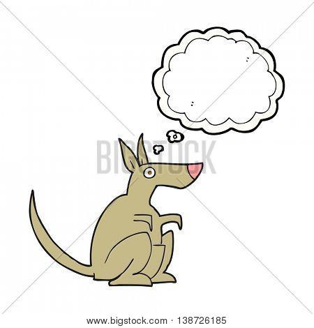 freehand drawn thought bubble cartoon kangaroo
