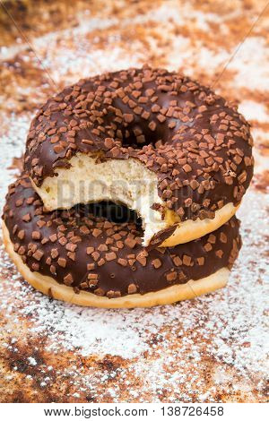closeup of a sweet donuts with chocolate