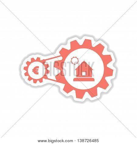 paper sticker on white  background house money