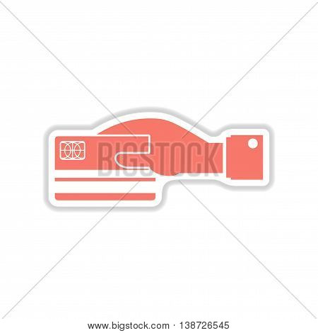 paper sticker on white  background bank card hand