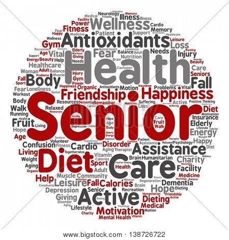Vector concept conceptual old senior health, care or elderly people abstract round word cloud isolated on background