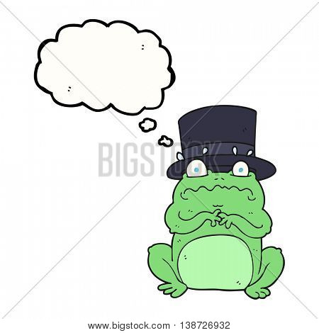 freehand drawn thought bubble cartoon wealthy toad