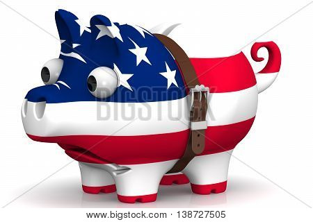 The economic crisis of the United States of America. Tightened with a strap pig piggy bank with bulging eyes in the color of the United States of America flag on a white surface. The concept of economic crisis in United States of America. Isolated. 3D Ill