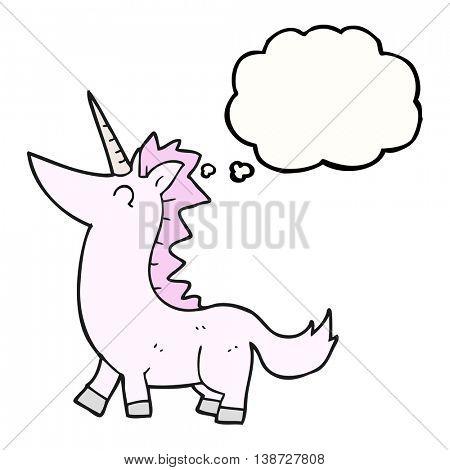 freehand drawn thought bubble cartoon unicorn