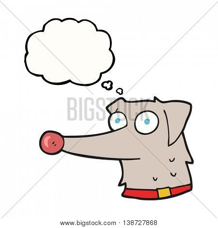 freehand drawn thought bubble cartoon dog with collar