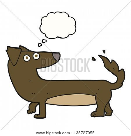 freehand drawn thought bubble cartoon dog