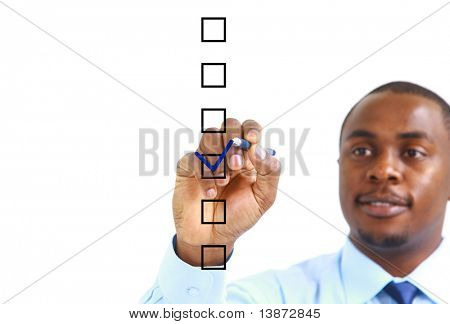 african businessman choosing one of three options