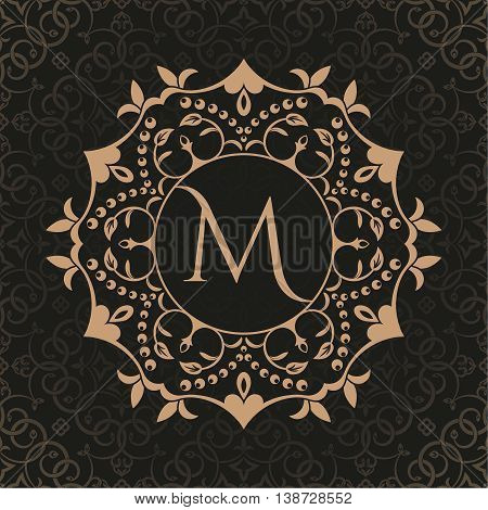 The decorative monogram in east style. A template for letters a frame for invitations a business sign a logo. An element for a sign boutique restaurant the business card.