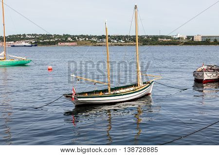 Small Two Masted Sailboat moored in Halifax