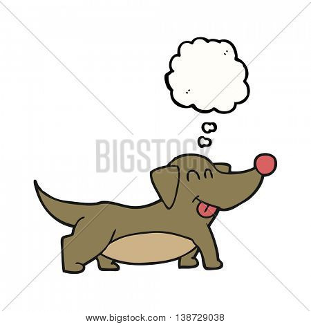 freehand drawn thought bubble cartoon happy little dog