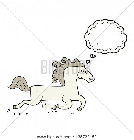freehand drawn thought bubble cartoon running horse