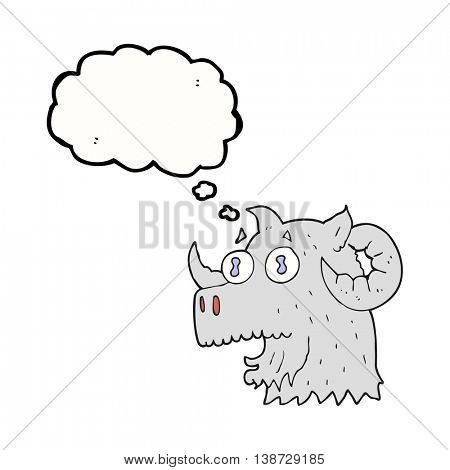freehand drawn thought bubble cartoon ram head