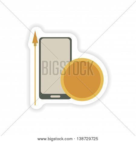 paper sticker on white background  mobile antivirus
