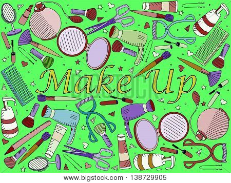 Vector line art Doodle set of cartoon characters and objects make up. Maquillage