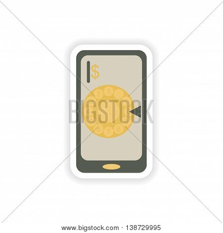 paper sticker on white background  mobile phone dial