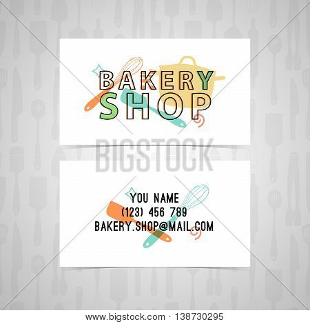 Template Design business card for a bakery. The design of the logo, icon, stamp, emblem bakery in retro style. Design of corporate identity. Vector illustration