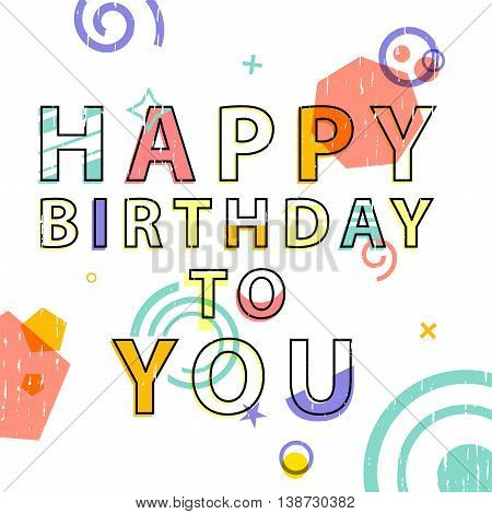 Greeting card with text Happy Birthday. Card in modern style, with geometric decor. Banner for congratulations. Vector illustration