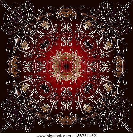 embossed floral vintage pattern. Decor on a dark red background