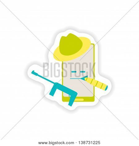 paper sticker on white background  mobile phone gentleman