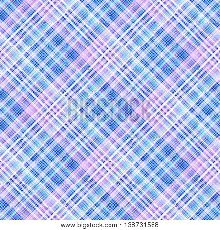 Checkered seamless pattern of interwoven blue colored thin strips. Motley abstract symmetrical background. Tartan template for fabrics, wallpaper. Vector eps10
