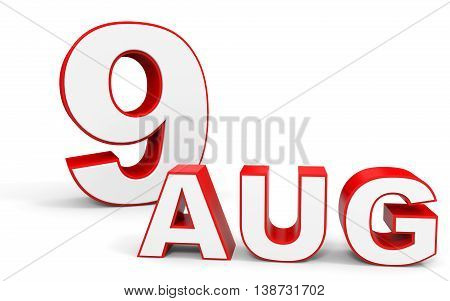 August 9. 3D Text On White Background.