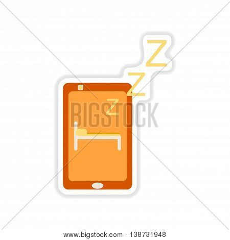 paper sticker on white  background mobile phone switched off