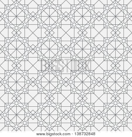 Seamless pattern. Classic abstract geometric background. Modern linear texture with thin lines. Regularly repeating geometrical tiled grid with rhombus diamond circle. Vector design