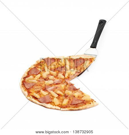 Whole hawaiian pizza sliced and steel spatula server, composition isolated the white background