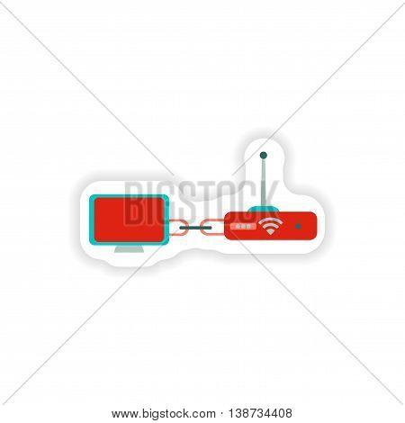 paper sticker  computer connection Wi fi modem