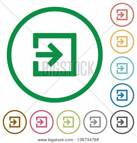 Set of Import color round outlined flat icons on white background