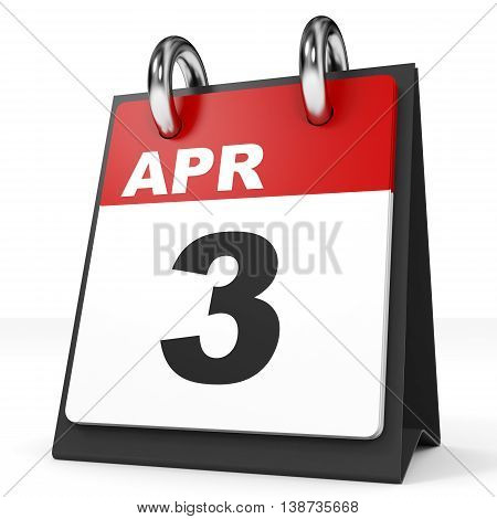Calendar On White Background. 3 April.