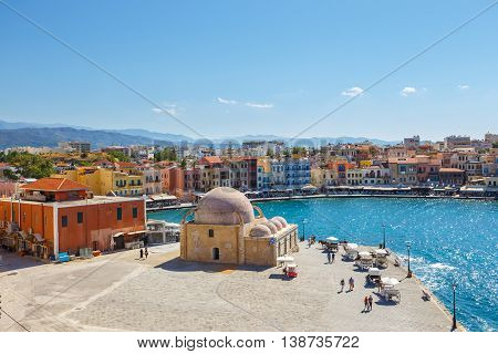 Chania, Crete - 25 Maj, 2016: Aerial View Of The Old Harbor  In Chania, Greece. Chania Is The Second
