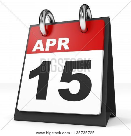 Calendar On White Background. 15 April.