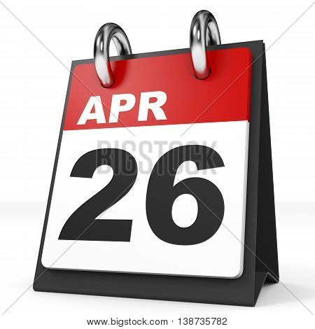Calendar On White Background. 26 April.