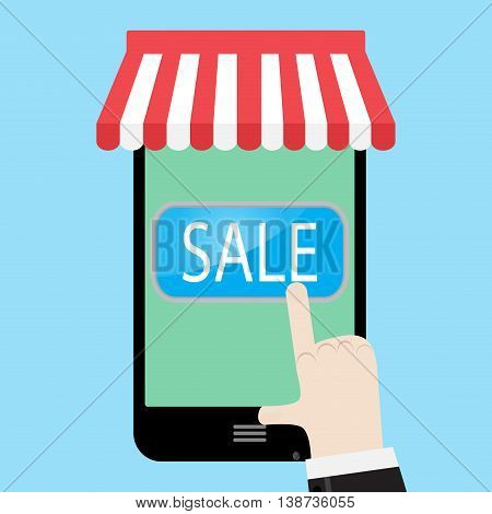 Make purchases with your phone. Online buy and mobile smart touchscreen. Vector illustration