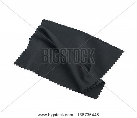 Glass cleaning black cloth napkin, composition isolated over the white background