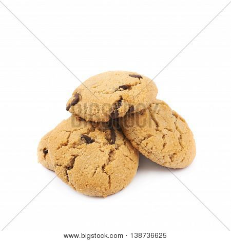 Pile of multiple soft chewy chocolate chip cookies isolated over the white background
