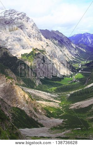 View Over The Valley Of The Gramai Alp In The Karwendel Mountains Of The European Alps