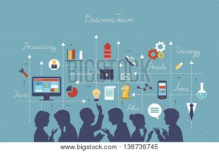 Business people group over conceptual. Silhouettes of people on a background of business icons. Mind Map Team.